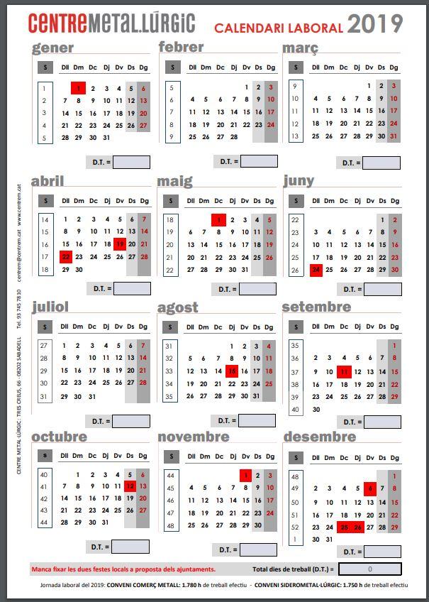 Calendario Laboral Cataluna 2019.Calendario Laboral 2019 Catalunya Aias